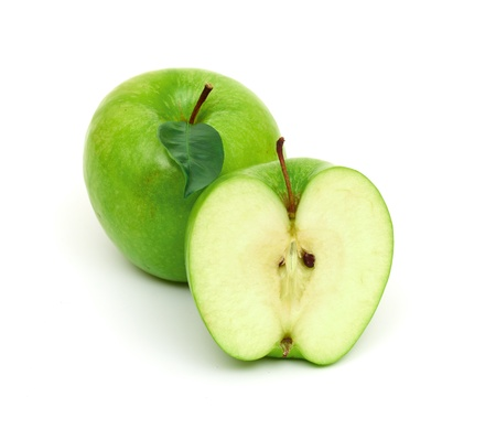 Green apple fruits isolated on white background Stock Photo