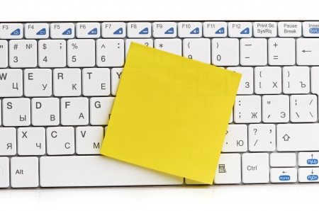 memo on white keyboard can use as background Stock Photo - 17551595