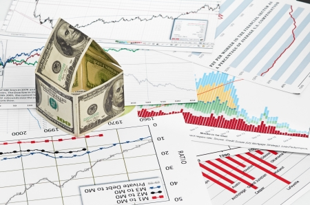 House of dollars  on chart background Stock Photo - 17551616