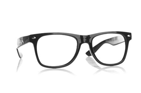 wearing glasses: black glasses on a white background