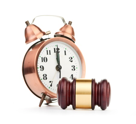 Gavel and old clock Stock Photo - 17551313
