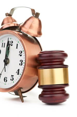Gavel and old clock Stock Photo - 17551577