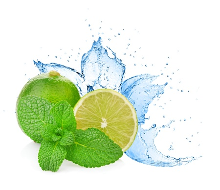 Water splash on lime with mint isolated on white Stock Photo - 17695014