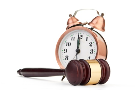 Gavel and old clock Stock Photo - 18191212