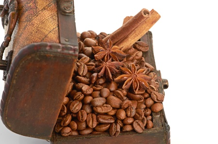 coffee beans and cinnamon sticks inside a  chest Stock Photo - 18324714
