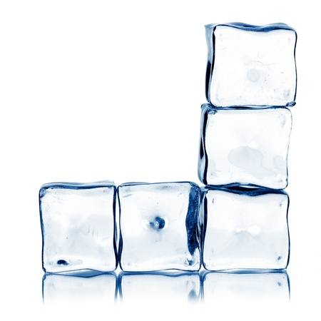 solid blue background: ice cubes isolated on white