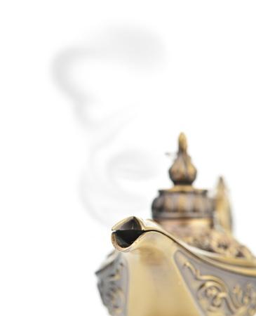 three wishes: Aladdin magic lamp isolated on white