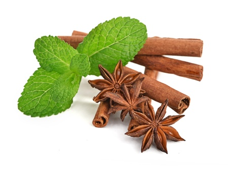 Sticks of cinnamon with mint and anise Stock Photo
