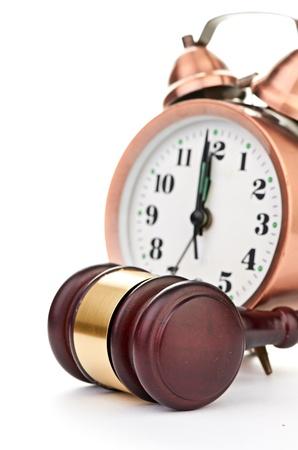 proceeding: Gavel and old clock Stock Photo