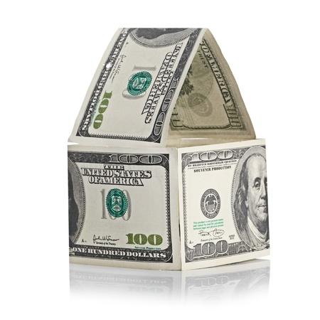 House of dollars. Isolated on white background photo