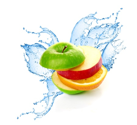 Fruit mix in water splash photo