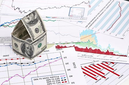 stock price losses: House of dollars. on chart background