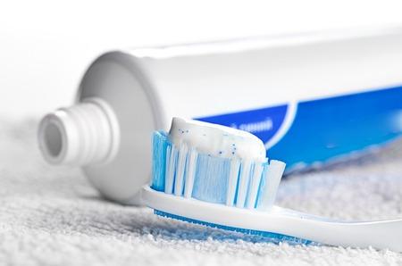blue plaque: Toothpaste