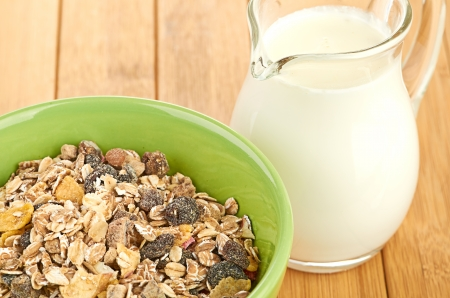 musli: Delicious and healthy cereal in bowl with milk
