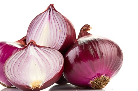 Red sliced onion isolated on white  Stock Photo