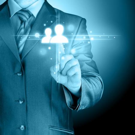 man hand pressing social media icon Stock Photo - 24133268