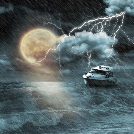 guard ship: Boat in storm  evening on ocean and the moon