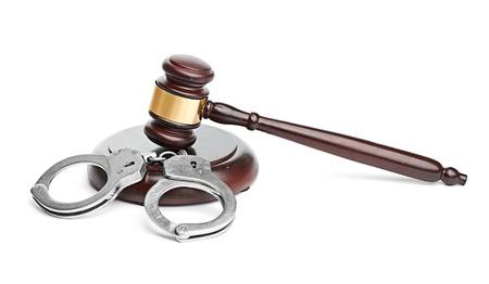 metal handcuffs: handcuffs and gavel