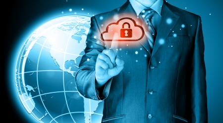 password security: Secure Online Cloud Computing Concept with business man