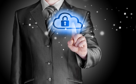 security equipment: Secure Online Cloud Computing Concept with business man