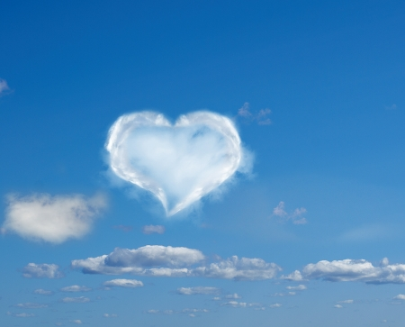 heart made of clouds against a blue sky photo