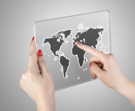 woman hand touch world map and connection Stock Photo - 24970702
