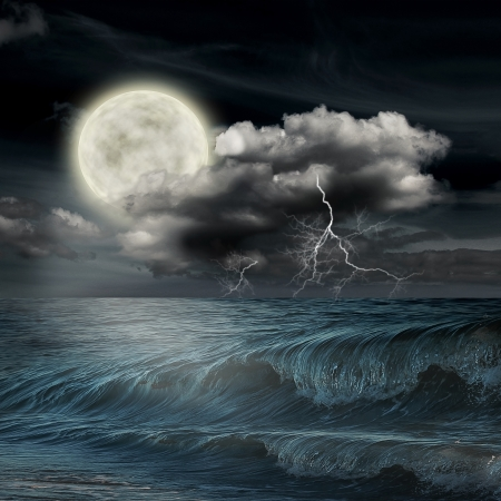 storm evening on ocean and the moon photo