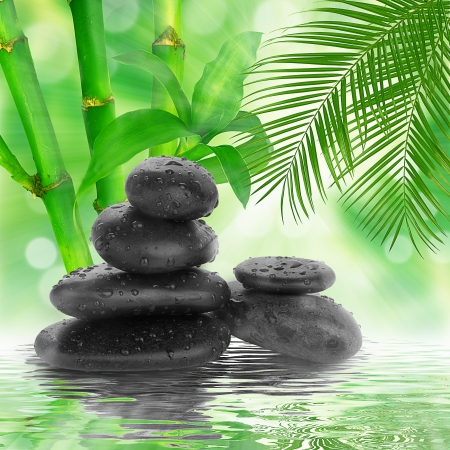 spa Background -  black stones and bamboo on water photo