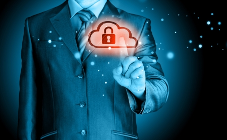 firewall icon: Secure Online Cloud Computing Concept with business man
