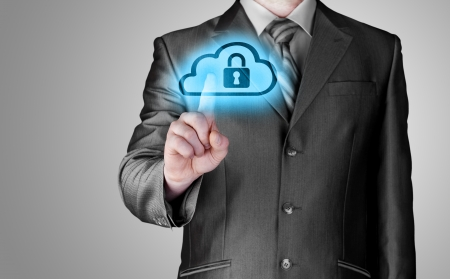 computer protection: Secure Online Cloud Computing Concept with business man