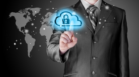 to encode: Secure Online Cloud Computing Concept with business man