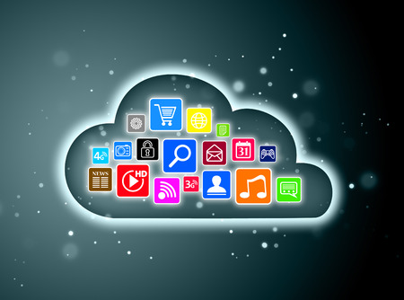 virtualization: Cloud computing concept design suitable for business presentations, infographics, etc. Stock Photo
