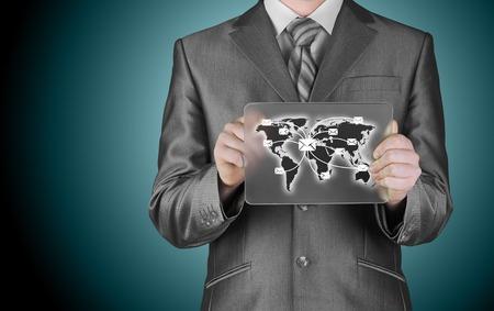 distribute: business man distribute digital mail Stock Photo