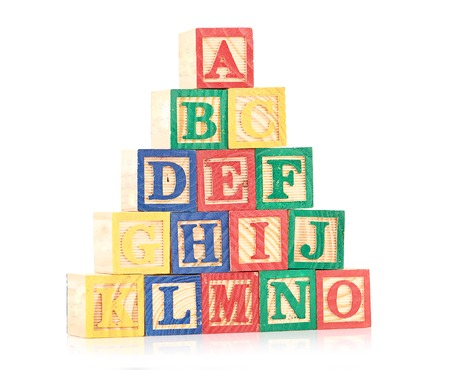fundamentals: wooden cube alphabet
