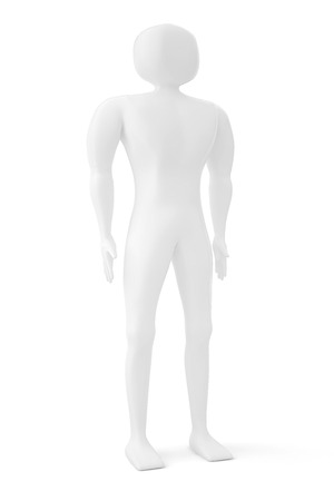 fullbody: 3D man figure with hands on his hips isolated over a white background
