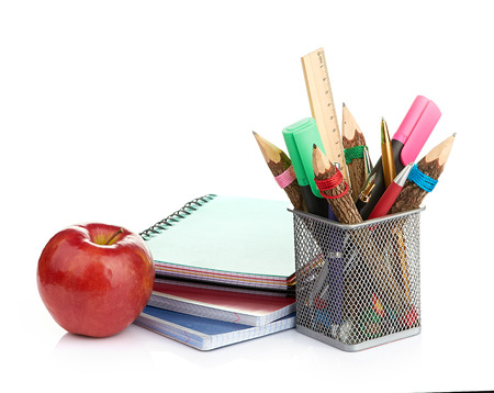 pencil box with school equipment photo