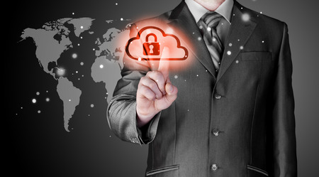 information security: Secure Online Cloud Computing Concept with business man