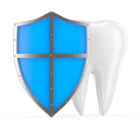 carious cavity: Tooth with metal shield on white background (Protection Concept) Stock Photo
