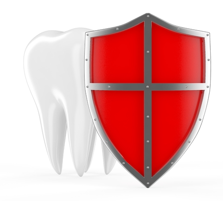 Tooth with metal shield on white (Protection Concept) photo