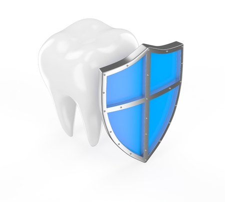 carious cavity: Tooth with metal shield on white background  Protection Concept  Stock Photo