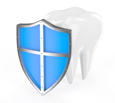 carious: Tooth with metal shield on white background  Protection Concept  Stock Photo