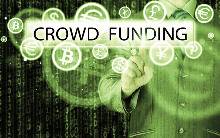 sourcing: Businessman pushes virtual crowd funding button