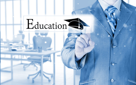 supervise: business man pointing  education  concept Stock Photo