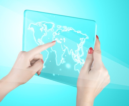 woman hand touch world map and connection Stock Photo