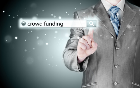 sourcing: Businessman and crowd funding in search bar Stock Photo