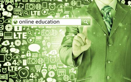 Online education written in search bar on virtual screen  photo
