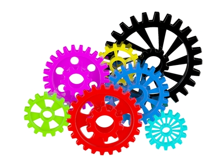 Color gears on white photo