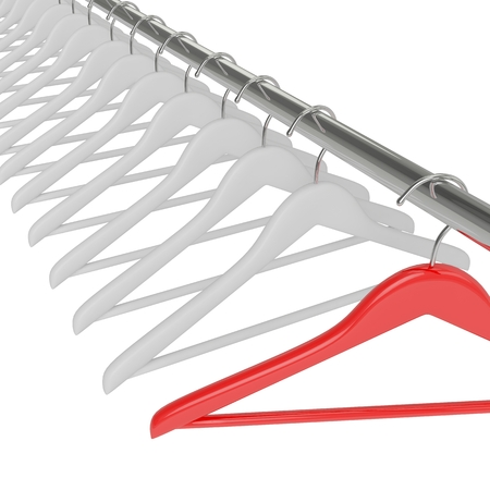 Black clothes hangers isolated on white