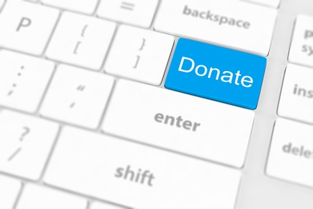 solicitation: donate key word on computer keyboard, Stock Photo