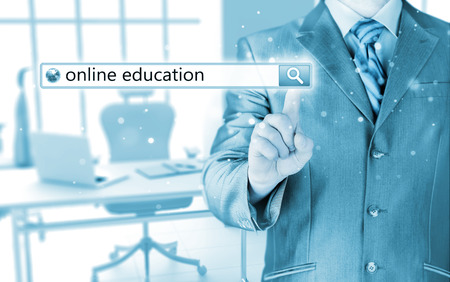 url virtual: Online education written in search bar on virtual screen  Stock Photo